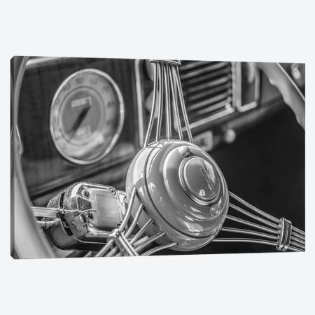 USA, Massachusetts, Essex. Interior detail of antique cars, 1940's-era steering wheel. Canvas Print #WBI217} by Walter Bibikow Canvas Wall Art