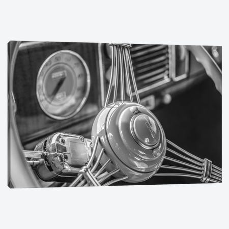 USA, Massachusetts, Essex. Interior detail of antique cars, 1940's-era steering wheel. Canvas Print #WBI217} by Walter Bibikow Canvas Wall Art