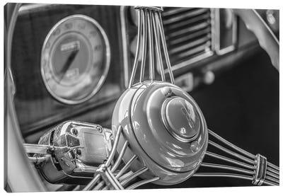 USA, Massachusetts, Essex. Interior detail of antique cars, 1940's-era steering wheel. Canvas Art Print