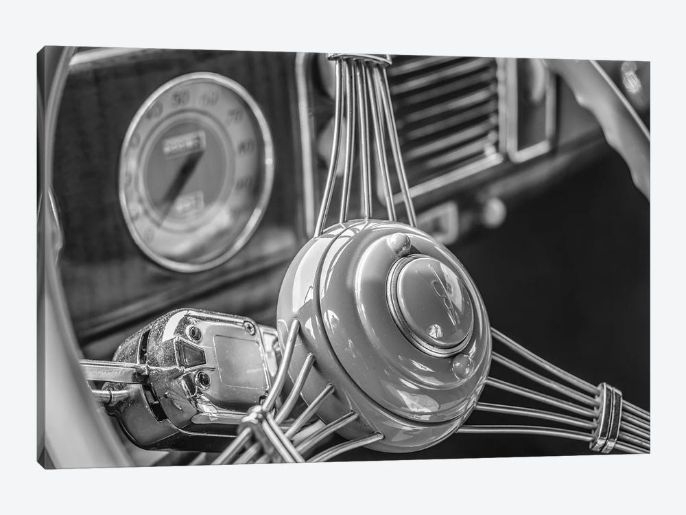USA, Massachusetts, Essex. Interior detail of antique cars, 1940's-era steering wheel. by Walter Bibikow 1-piece Canvas Artwork