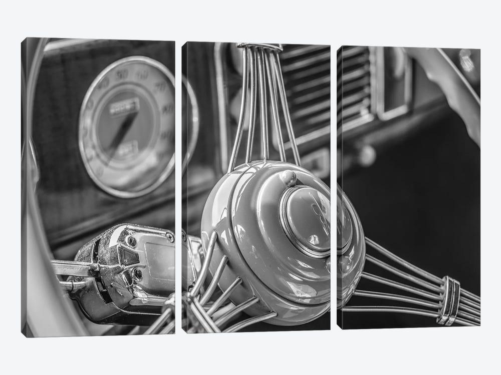 USA, Massachusetts, Essex. Interior detail of antique cars, 1940's-era steering wheel. by Walter Bibikow 3-piece Canvas Artwork
