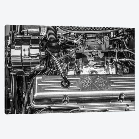 USA, Massachusetts, Essex. Detail of antique cars, hot rod engine. Canvas Print #WBI218} by Walter Bibikow Canvas Print