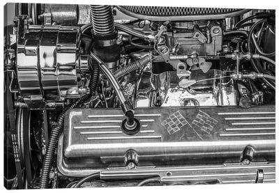 USA, Massachusetts, Essex. Detail of antique cars, hot rod engine. Canvas Art Print