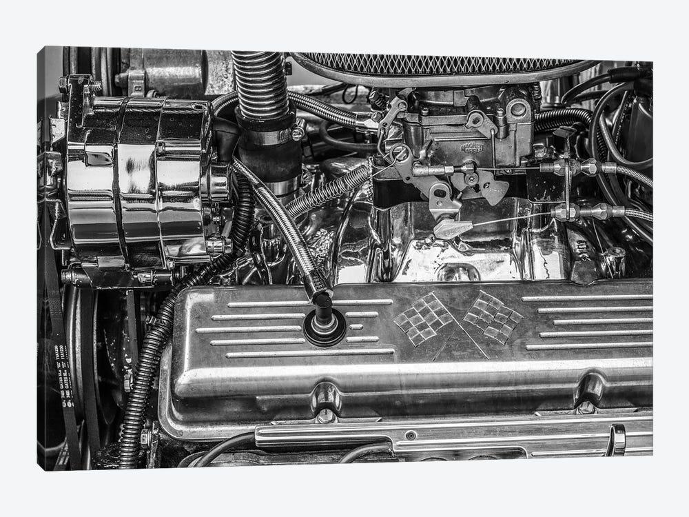 USA, Massachusetts, Essex. Detail of antique cars, hot rod engine. by Walter Bibikow 1-piece Art Print