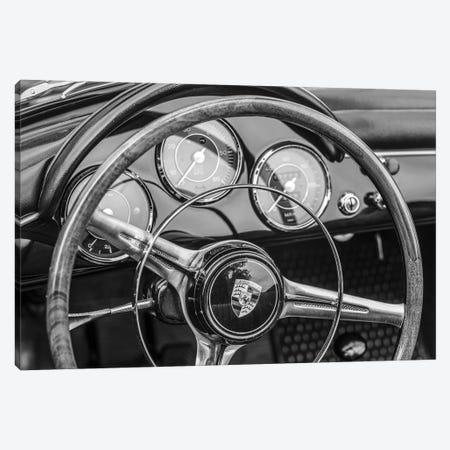 USA, Massachusetts, Essex. Antique cars, detail of 1963 Porsche 356 steering wheel Canvas Print #WBI219} by Walter Bibikow Canvas Print