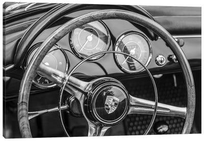 USA, Massachusetts, Essex. Antique cars, detail of 1963 Porsche 356 steering wheel Canvas Art Print