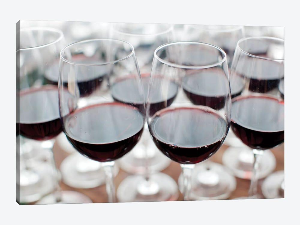 Glasses Of Wine, Bodega Marques de Riscal, Elciego, Alava Province, Basque Country, Spain by Walter Bibikow 1-piece Canvas Print