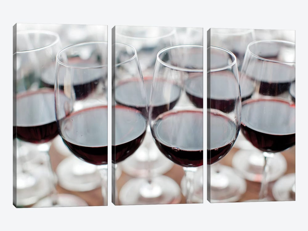 Glasses Of Wine, Bodega Marques de Riscal, Elciego, Alava Province, Basque Country, Spain by Walter Bibikow 3-piece Canvas Print