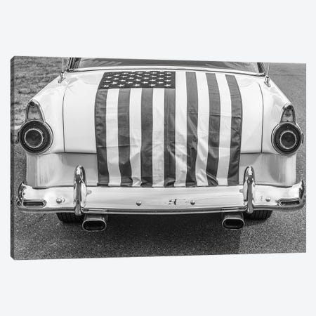 USA, Massachusetts, Essex. Antique cars, detail of 1950's-era Ford draped with US flag. Canvas Print #WBI220} by Walter Bibikow Canvas Artwork