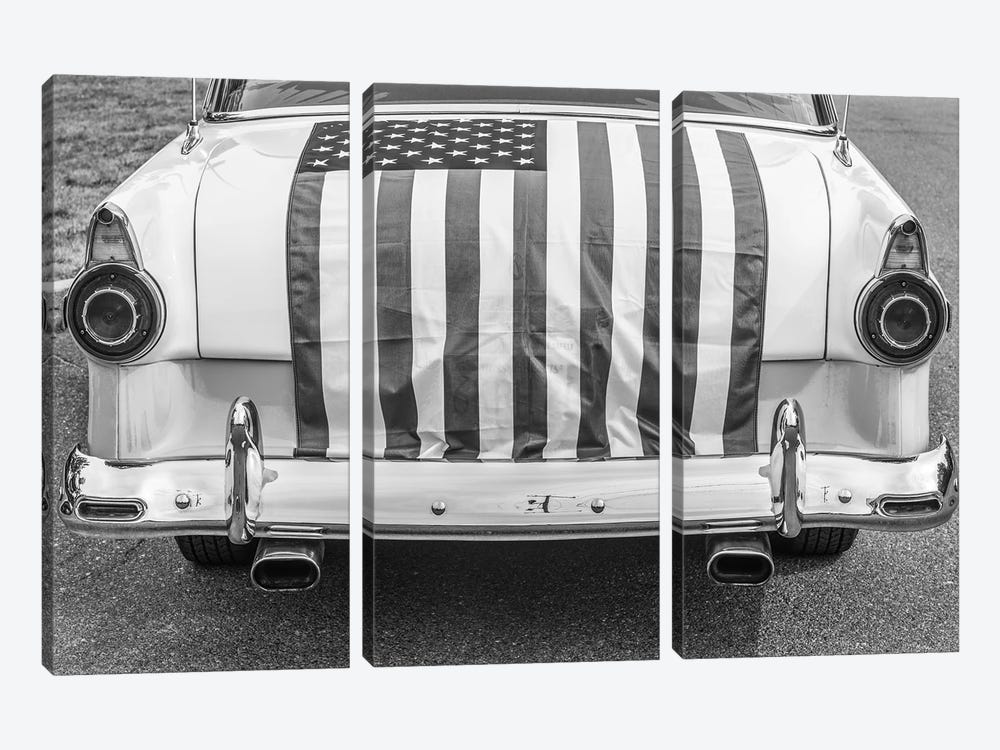 USA, Massachusetts, Essex. Antique cars, detail of 1950's-era Ford draped with US flag. by Walter Bibikow 3-piece Canvas Artwork