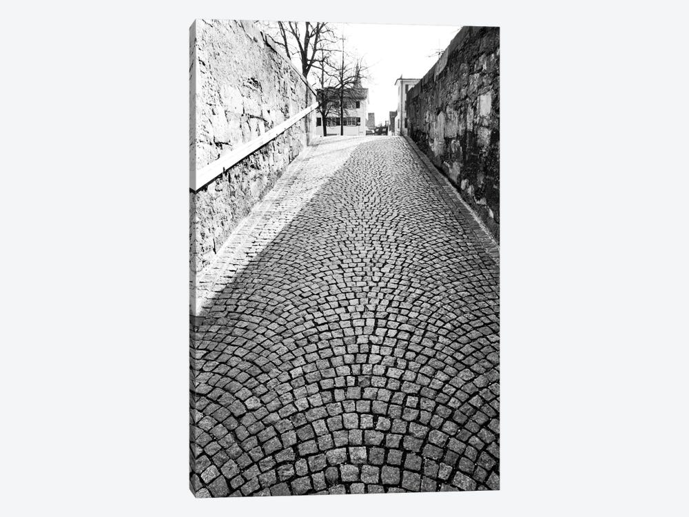 Stone Street In B&W, Zurich, Switzerland by Walter Bibikow 1-piece Canvas Wall Art