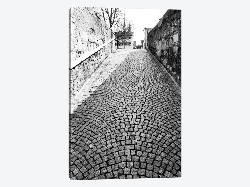 Stone Street In B&W, Zurich, Switzerland by Walter Bibikow 1-piece Canvas Wall Art
