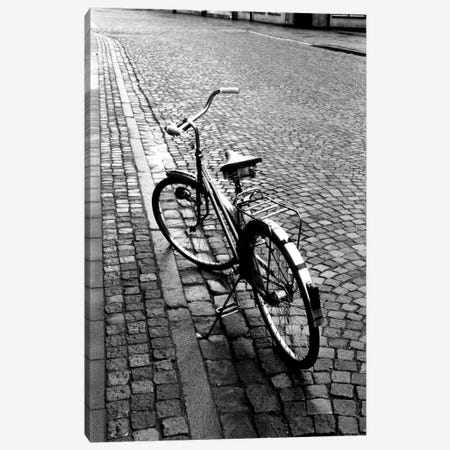 Vintage Bicycle On A Stone Street In B&W Canvas Print #WBI25} by Walter Bibikow Canvas Artwork