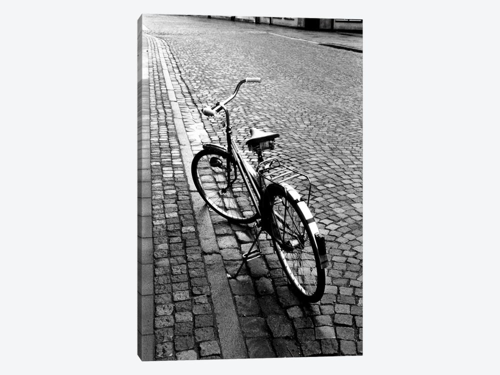 Vintage Bicycle On A Stone Street In B&W by Walter Bibikow 1-piece Canvas Print