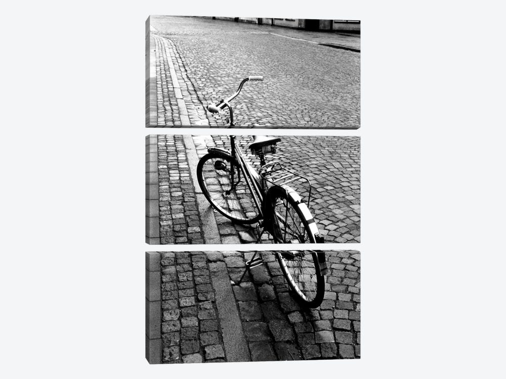 Vintage Bicycle On A Stone Street In B&W by Walter Bibikow 3-piece Art Print