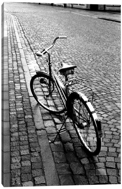 Vintage Bicycle On A Stone Street In B&W Canvas Art Print
