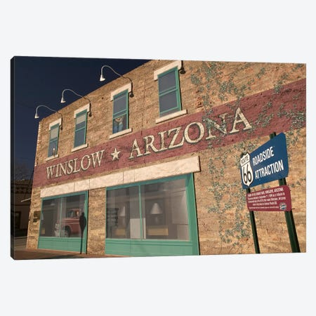 U.S. Route 66 Standin' On The Corner Park Roadside Attraction, Winslow, Arizona, USA Canvas Print #WBI29} by Walter Bibikow Canvas Art Print