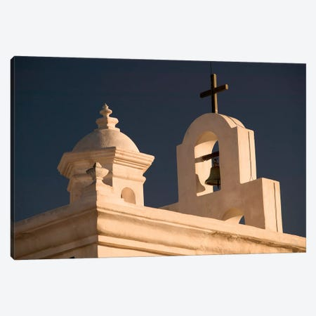 Mortuary Chapel Rooftop Bells, Mission San Xavier del Bac, Tohono O'odham Nation, Arizona, USA Canvas Print #WBI32} by Walter Bibikow Canvas Wall Art
