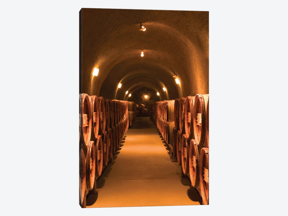 Winery Cask Room, Pine Ridge Vineyards, Napa Valley AVA, California, USA by Walter Bibikow 1-piece Canvas Wall Art