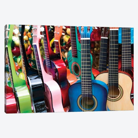 Toy Guitars, Olvera Street Marketplace, Los Angeles Plaza Historic District (El Pueblo de Los Angeles Historical Monument) Canvas Print #WBI34} by Walter Bibikow Canvas Print