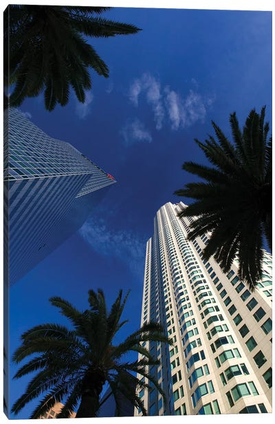 Low-Angle View, US Bank Tower (Library Tower) & Citigroup Center (444 Flower Building), Los Angeles, California, USA Canvas Art Print