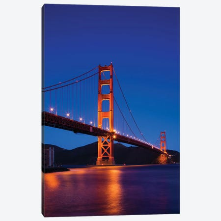 Golden Gate Bridge At Night, San Francisco, California, USA Canvas Print #WBI36} by Walter Bibikow Canvas Art Print