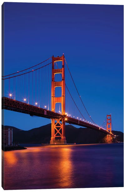 Golden Gate Bridge At Night, San Francisco, California, USA Canvas Print #WBI36