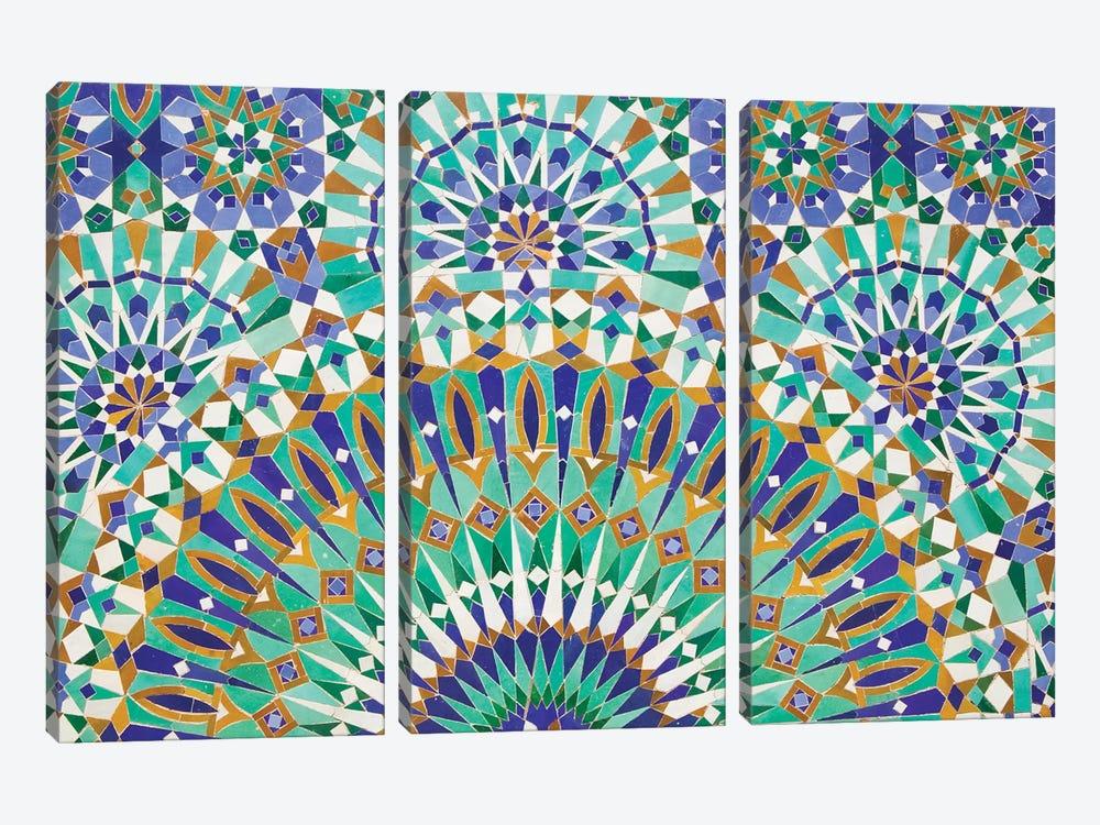 Close-Up Of A Decorative Mosaic II, Hassan II Mosque, Casablanca, Morocco by Walter Bibikow 3-piece Canvas Art
