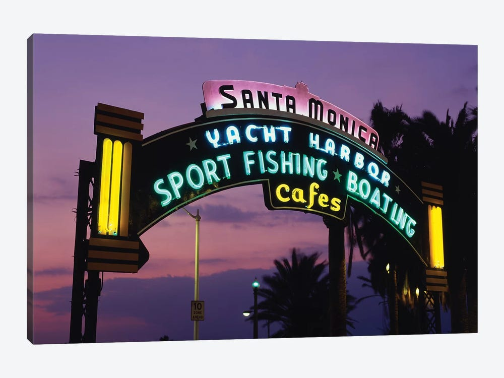 Neon Entrance Sign, Santa Monica Yacht Harbor, Santa Monica, California, USA by Walter Bibikow 1-piece Canvas Print