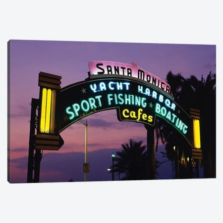 Neon Entrance Sign, Santa Monica Yacht Harbor, Santa Monica, California, USA Canvas Print #WBI41} by Walter Bibikow Canvas Print