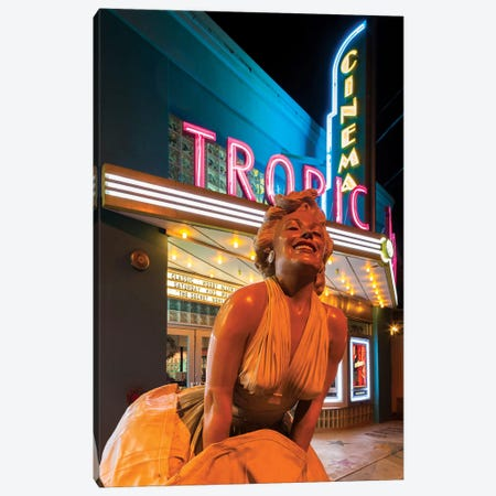 Marilyn Monroe Statue In Zoom And Marquee, Tropic Cinema, Key West, Monroe County, Florida, USA Canvas Print #WBI44} by Walter Bibikow Canvas Artwork