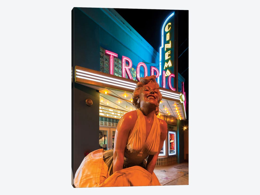 Marilyn Monroe Statue In Zoom And Marquee, Tropic Cinema, Key West, Monroe County, Florida, USA by Walter Bibikow 1-piece Canvas Artwork
