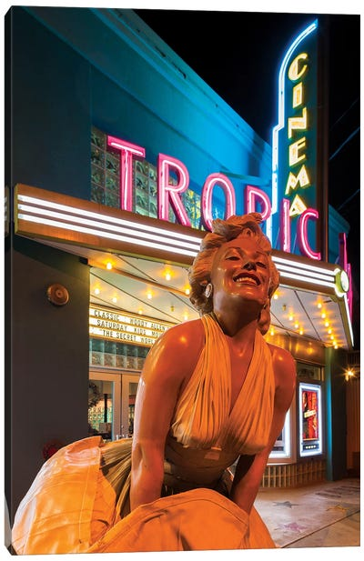 Marilyn Monroe Statue In Zoom And Marquee, Tropic Cinema, Key West, Monroe County, Florida, USA Canvas Art Print