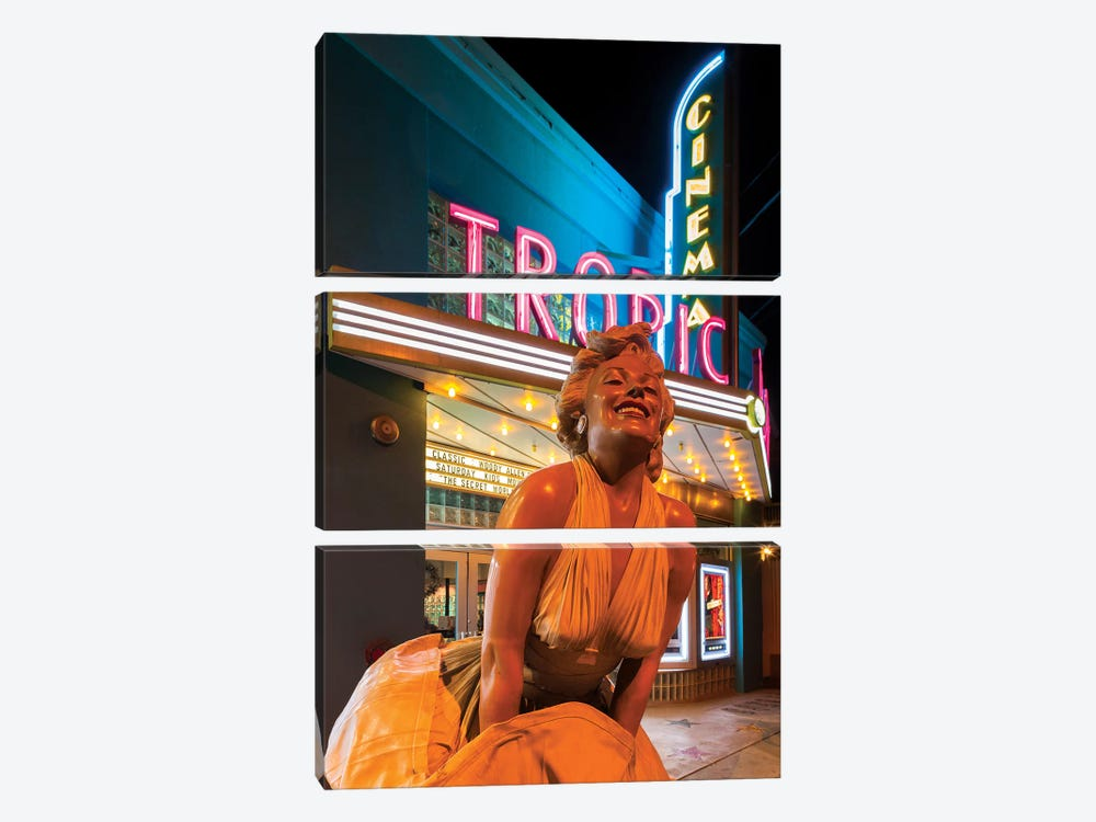 Marilyn Monroe Statue In Zoom And Marquee, Tropic Cinema, Key West, Monroe County, Florida, USA by Walter Bibikow 3-piece Canvas Artwork