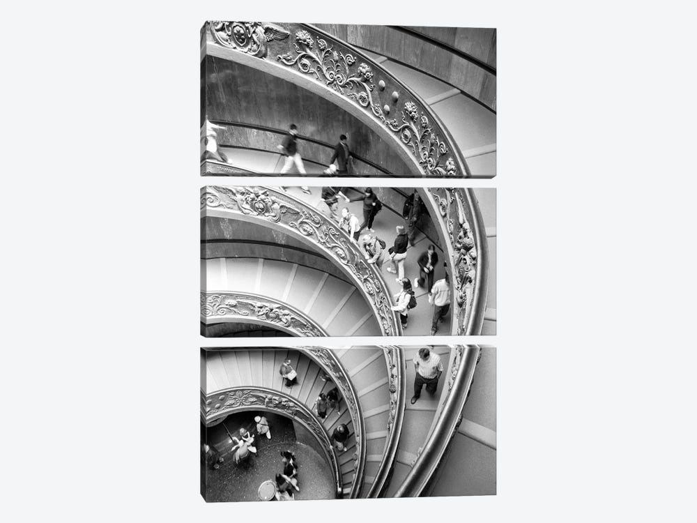 "Modern ""Bramante"" Staircase, Museo Pio-Clementine, Vatican City by Walter Bibikow 3-piece Canvas Art Print"