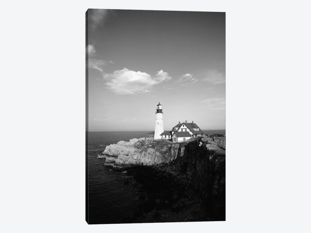 Portland Head Light In B&W, Cape Elizabeth, Cumberland County, Maine, USA by Walter Bibikow 1-piece Canvas Print