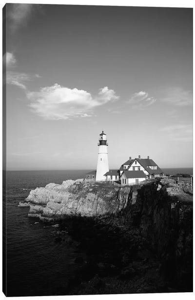 Portland Head Light In B&W, Cape Elizabeth, Cumberland County, Maine, USA Canvas Art Print