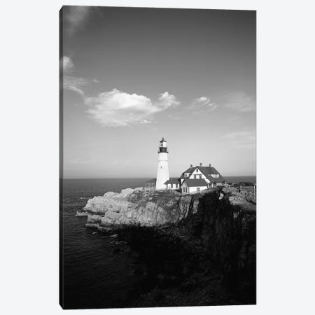Portland Head Light In B&W, Cape Elizabeth, Cumberland County, Maine, USA 3-Piece Canvas #WBI47} by Walter Bibikow Canvas Artwork