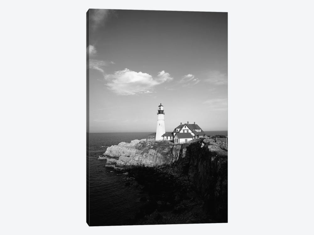 Portland Head Light In B&W, Cape Elizabeth, Cumberland County, Maine, USA by Walter Bibikow 1-piece Canvas Print