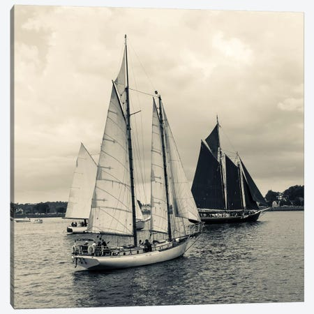 Perception And Roseway During The Gloucester Schooner Festival, Gloucester Harbor, Gloucester, Massachusetts, USA 3-Piece Canvas #WBI49} by Walter Bibikow Canvas Print