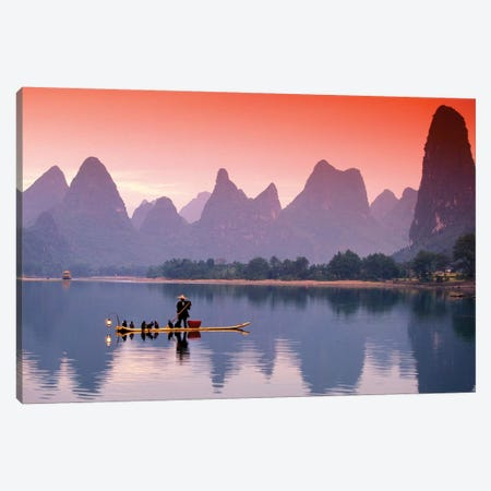 A Lone Fisherman, Li River, Guangxi Zhuang Autonomous Region, People's Republic Of China Canvas Print #WBI4} by Walter Bibikow Canvas Art Print