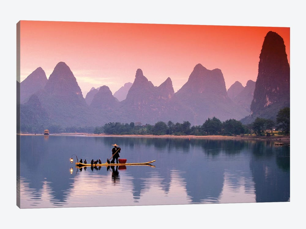 A Lone Fisherman, Li River, Guangxi Zhuang Autonomous Region, People's Republic Of China by Walter Bibikow 1-piece Canvas Print