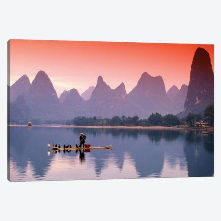 A Lone Fisherman, Li River, Guangxi Zhuang Autonomous Region, People's Republic Of China Canvas Print #WBI4} by Walter Bibikow Canvas Art Print