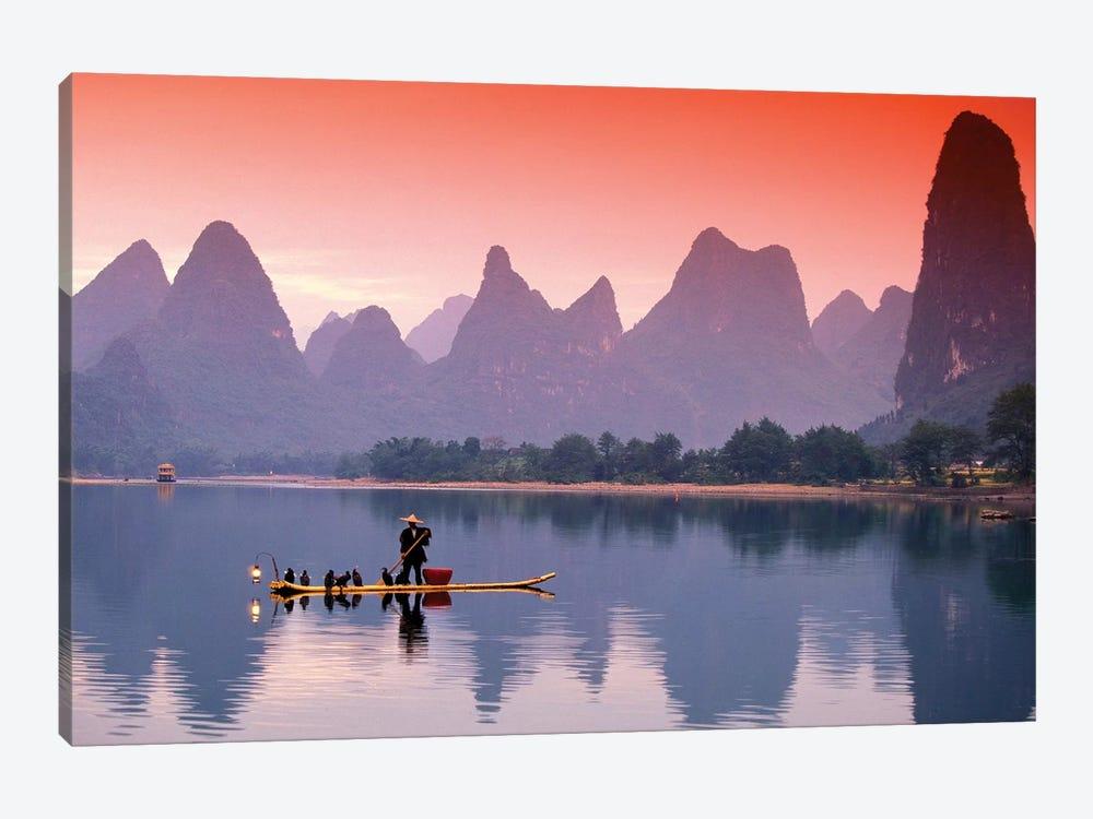 A Lone Fisherman, Li River, Guangxi Zhuang Autonomous Region, People's Republic Of China by Walter Bibikow 1-piece Canvas Print