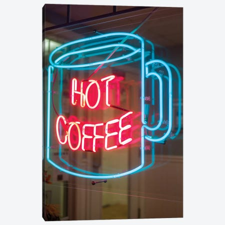 Hot Coffee Neon Sign, Kane's Donuts, Saugus, Essex County, Massachusetts, USA Canvas Print #WBI53} by Walter Bibikow Canvas Wall Art