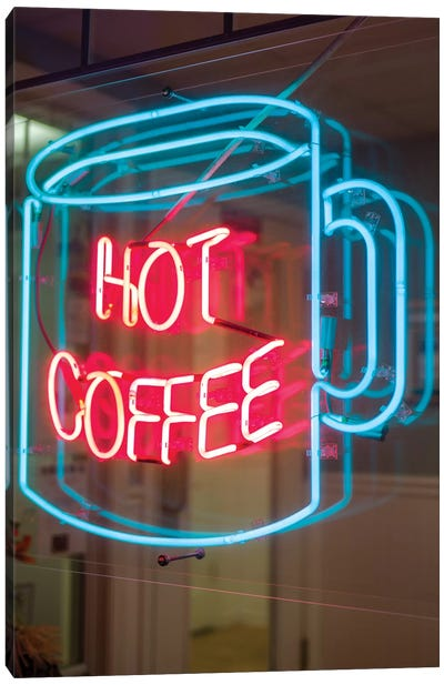 Hot Coffee Neon Sign, Kane's Donuts, Saugus, Essex County, Massachusetts, USA Canvas Art Print