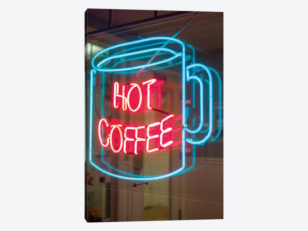 Hot Coffee Neon Sign, Kane's Donuts, Saugus, Essex County, Massachusetts, USA by Walter Bibikow 1-piece Canvas Artwork