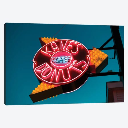 Neon Sign, Kane's Donuts, Saugus, Essex County, Massachusetts, USA Canvas Print #WBI54} by Walter Bibikow Canvas Print