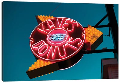 Neon Sign, Kane's Donuts, Saugus, Essex County, Massachusetts, USA Canvas Art Print