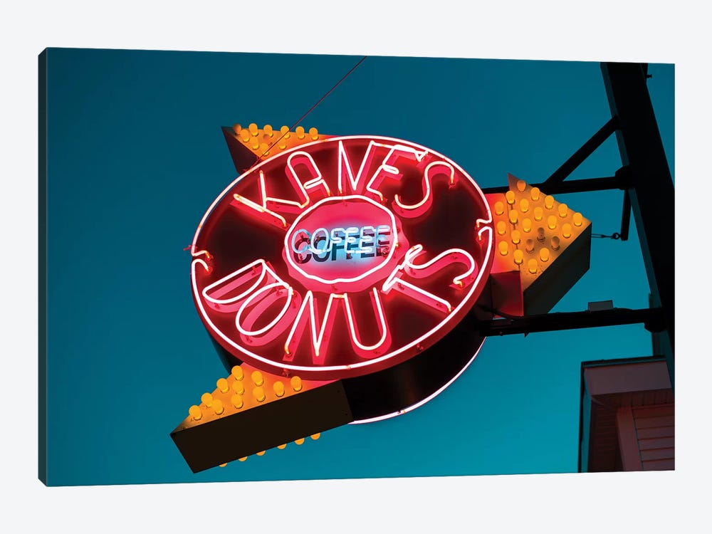 Neon Sign, Kane's Donuts, Saugus, Essex County, Massachusetts, USA by Walter Bibikow 1-piece Art Print
